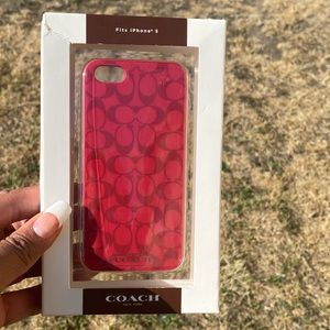 COACH I PHONE 5 case red and burgundy , NEW